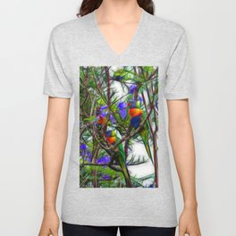 Abstract Beautiful Rainbow Lorikeets in a tree Unisex V-Neck