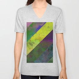 45 Degrees - Abstract, textured, diagonal stripes Unisex V-Neck
