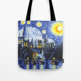 Starry Night At Hogwarts Tote Bag