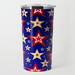 christmas pattern red star, gold stars,blue shiny background Travel Mug