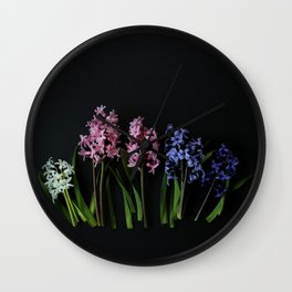 Pink Purple and White Hyacinths Wall Clock