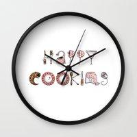 cooking Wall Clocks featuring Happy Cooking by Mariya Olshevska