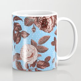 Copper and Blue Vintage Roses on Sky Blue Coffee Mug
