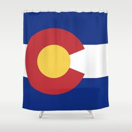Blue Red and Gold Flag of Colorado Shower Curtain