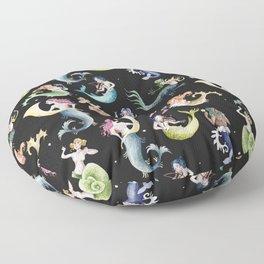 Medieval Mermaid Band - Black Floor Pillow