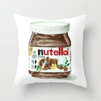 nutella Throw Pillows featuring Nutella by Owl Feather Studio