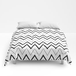 Black lines and dots pattern Comforters