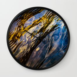 River Ripples in Copper Gold Blue and Brown Wall Clock