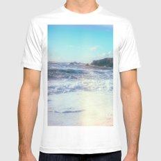 California Sunshine Waves Mens Fitted Tee MEDIUM White