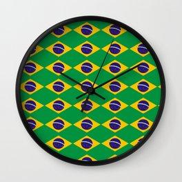 flag of brazil 2-Brazil, flag, flag of brazil, brazilian, bresil, bresilien, Brasil, Rio, Sao Paulo Wall Clock