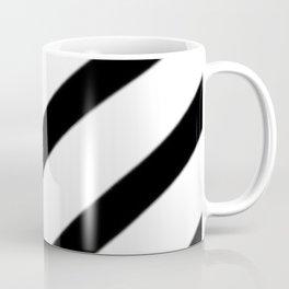 Soft Diagonal Black and White Stripes Coffee Mug