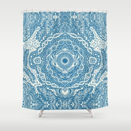 Rain in the Garden - blue and cream Shower Curtain