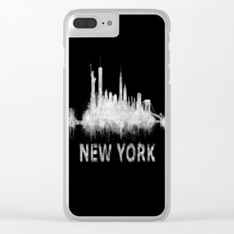 new york nyc city cityscape watercolor white v6 Clear iPhone Case