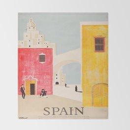 Spain Vintage Travel Poster Mid Century Minimalist Art Throw Blanket