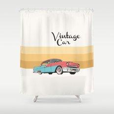 Vintage Car Illustration Shower Curtain