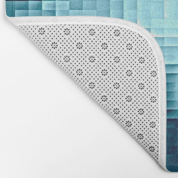 Nebula Pixels Steel Teal Blue Bath Mat