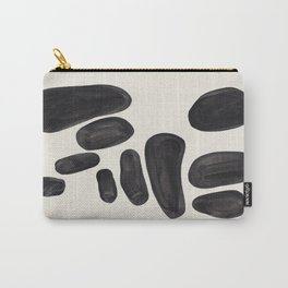 Mid Century Modern Minimalist Abstract Art Brush Strokes Black & White Ink Art Pebbles Carry-All Pouch