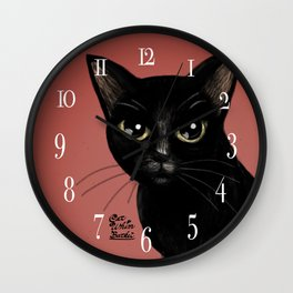 Black in red Wall Clock