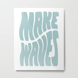 Make Waves Seafoam Blue Metal Print
