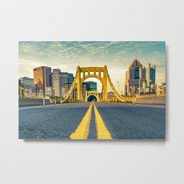 Pittsburgh Vintage Golden Bridge Print Metal Print