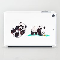 pandas iPad Cases featuring Peaceful Pandas by minniemorrisart