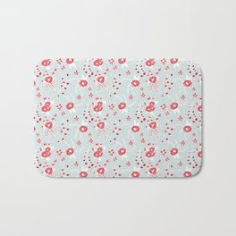 Holiday Floral Blue Red #holiday #Christmas Bath Mat