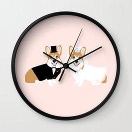 Corgi Bride and Groom - cute dog wedding, corgi wedding, dog, dogs, summer cute Wall Clock