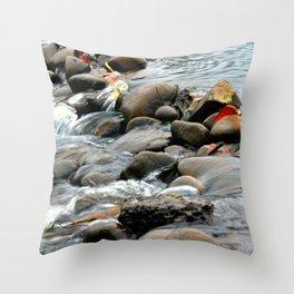 Water Through Stone Throw Pillow