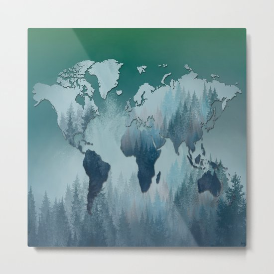 world map forest 4 Metal Print