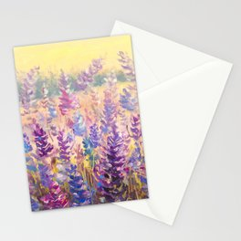 Glade of gentle flowers oil painting by Rybakow Stationery Cards
