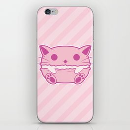 Pink Kawaii Cat Macaroon iPhone Skin