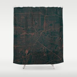 Houston Map Red Shower Curtain