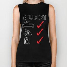 Student Drink Sleep Fuck Beer College Gift Idea Biker Tank