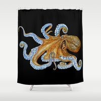 octopus Shower Curtains featuring Octopus by Tim Jeffs Art