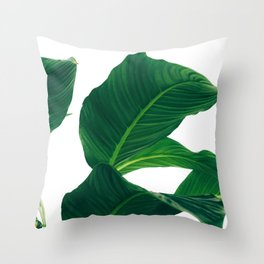 Green Leafs (Color) Throw Pillow