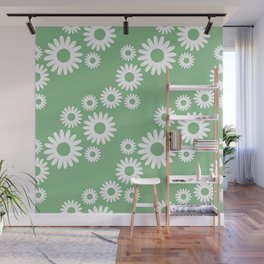Jumbo white daisies diagonal pattern on green Wall Mural