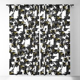 just penguins black white yellow Blackout Curtain