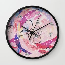 Flower Scribbles Wall Clock