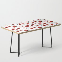 Red Ladybug Floral Pattern Coffee Table