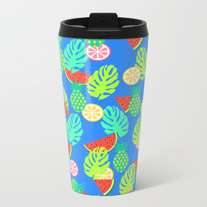 Watermelons and pineapples in blue Metal Travel Mug
