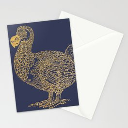 Gold dodo on patriot blue Stationery Cards