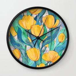 Blooming Golden Tulips in Gouache Wall Clock