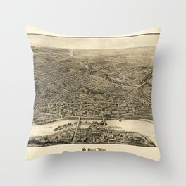 Aerial View of Saint Paul, Minnesota (1906) Throw Pillow