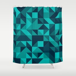 The bottom of the ocean - Random triangle pattern in shades of blue and turquoise  Shower Curtain