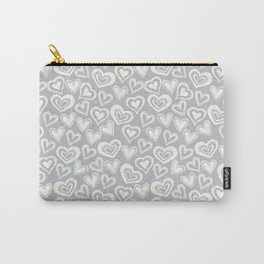 MESSY HEARTS: IVORY GRAY Carry-All Pouch