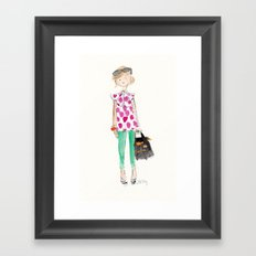 Pink Polka Dots Framed Art Print