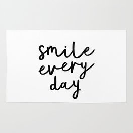 Smile Every Day black and white contemporary minimalism typography design home wall decor bedroom Rug