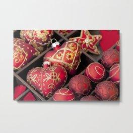 red Christmas heart ornaments Metal Print
