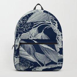 Floral, Roses, Vintage Print, Navy Blue Backpack