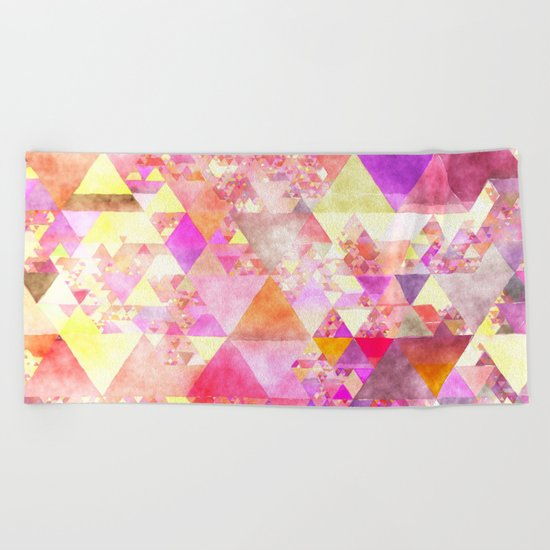 Abstract pink purple yellow Colorful triangle pattern Beach Towel